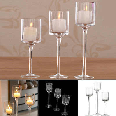 £11.79 • Buy Set Of 3 Tall Glass Large Candle Holders Centrepiece Tea-Light Wedding Candles