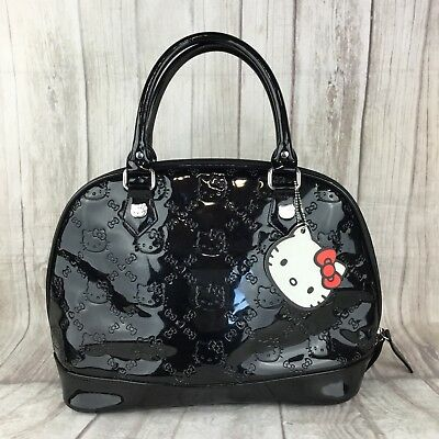 Hello Kitty Sanrio Loungefly Shiny Black Patent Embossed Purse Bag  Weekender • 60.00  104a6f0fb0bf0