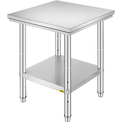 Work Bench Food Prep Kitchen Table Top 60X60X80 CM Stainless Steel Heavy Duty • 54.99£