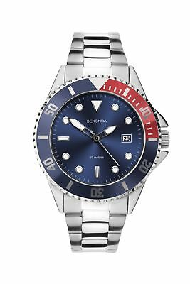 £29.99 • Buy Sekonda Mens Sports Watch With Blue Dial And Silver Bracelet 1624