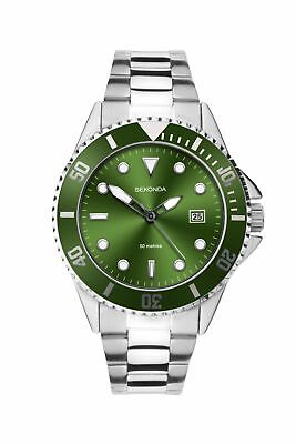 £29.99 • Buy Sekonda Mens Sports Watch With Green Dial And Silver Bracelet 1622