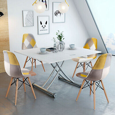 £185.99 • Buy Multifunction Solid Wood Lift Table Wheels Folding Dining Room Furniture White
