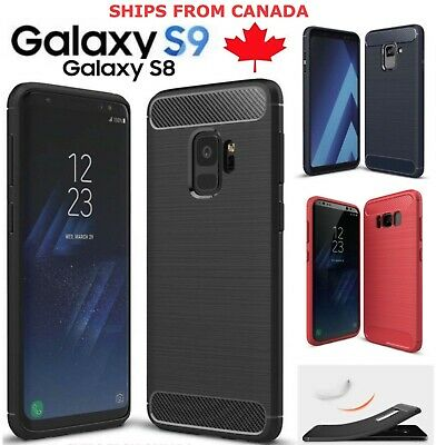 $ CDN6.45 • Buy For Samsung Galaxy S9 S8 / Plus Case Carbon Fibre Soft Cover Screen Protector