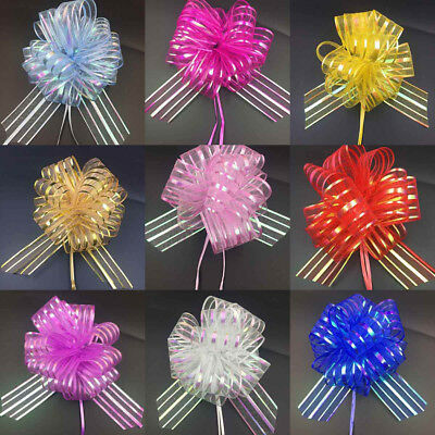 50MM Large Pom Pom Bow Organza Ribbon Pull Bows Wedding Party Gift Wrap 13 Color • 0.99£