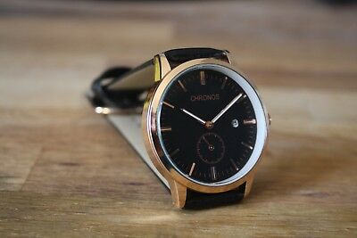 Gold Colour Mens Watch With Black Dial, Black Strap And Seconds Sub Dial • 15£