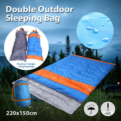 AU34.99 • Buy -10°C Double Outdoor Camping Sleeping Bag Hiking Thermal Winter 220x150cm