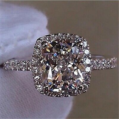 New Crystal Womens Exquisite White Sapphire 925 Silver Wedding Ring Jewelry • 3.99£