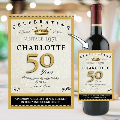 Personalised Happy Birthday Wine Champagne Bottle Sticker Label N158 Any Age • 3£