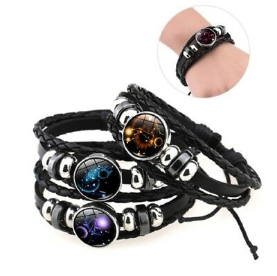 Leather Bracelet Astrology Star Sign Zodiac Horoscope Pendant Space Wristband  • 3.69£