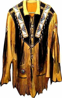 $169.99 • Buy Men Traditional Western Cowboy Leather Jacket Coat With Fringe And Beads