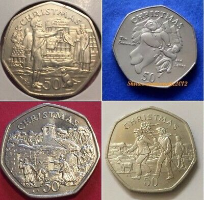 1980 -2016 ISLE OF MAN 50p Christmas Coins Fifty Pence Coin / Display Case Album • 13.50£