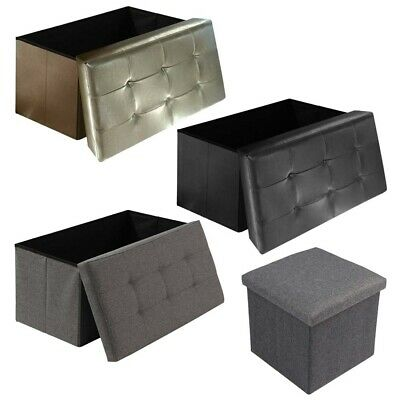 Grey Linen Folding Storage Ottoman Pouffe Seat Foot Stool Storage Box Uk • 16.99£