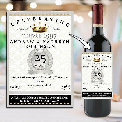 £3 • Buy Personalised 25th Silver Wedding Anniversary Wine Champagne Bottle Label N15