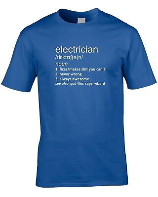 £10.99 • Buy Electrician Definition Mens T-Shirt Sparky Gift Idea World Work Job Occupation