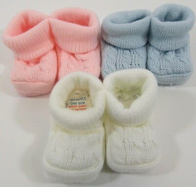Baby Booties Girls Boys Socks Pink Blue White Bootees Cable Knit Striped NB 18 • 1.25£