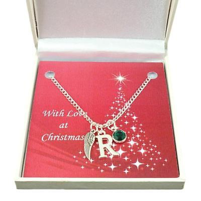 Angel Wing Necklace With Letter & Birthstone In A Christmas Gift Box. • 12.99£