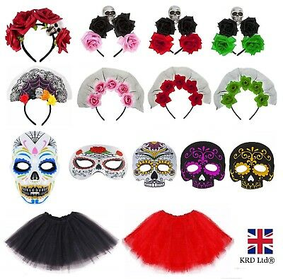 DAY OF THE DEAD FANCY DRESS ACCESSORIES Adult Kids Halloween Costume Mask Lot UK • 5.95£