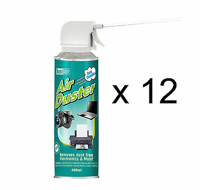 12 X 400ml Compressed Air Duster Cleaner Can Camera Extractor Fan • 25.49£