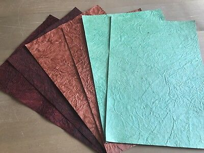 £4.65 • Buy A4 Handmade Paper Leather / Crinkle Effect 200 Gsm Card Toppers / Layering  3 PK