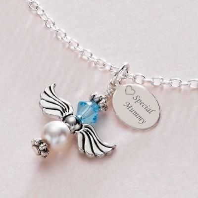 Angel Necklace With Birthstone & Free Engraving For Girls, Children Or Women • 18.99£