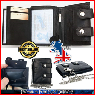 Men Biker Wallet Black Leather Wallet With Coin Pocket And Safety Metal Chain UK • 24.17£