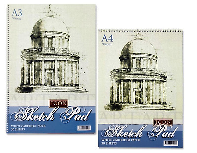 2 X A3 OR A4 SKETCH PADS SPIRAL BOUND 30 SHEETS ART SKETCHING DRAWING PAPER BOOK • 10.99£