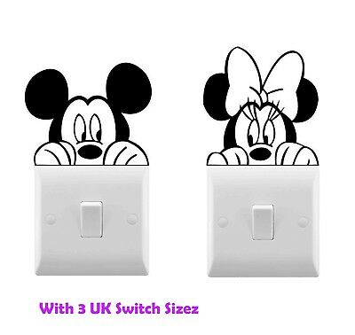 Mickey Mouse Minnie Mouse Disney Vinyl Decal Children Room Light Switch Stickers • 1.79£