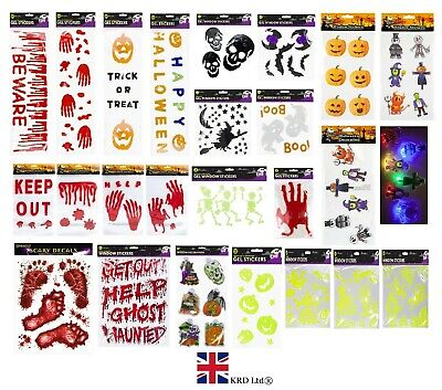HALLOWEEN WINDOW STICKERS Decoration Scary Blood Hand Party Blood Red Decals UK • 2.80£