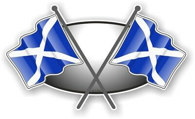 Cross Flags Design With Scotland Scottish Saltire Flag Vinyl Car Sticker 90x52mm • 2.49£