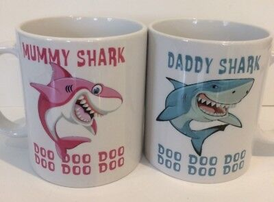 Mummy-daddy-mum-nana-grandma-dad- Personalised Shark Mugs Child Christmas 337 • 8.99£