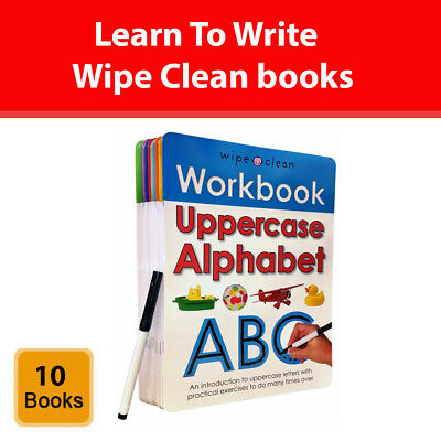 Learn To Write Wipe Clean 10 Books Collection Set Alphabets Numbers Phonics NEW • 16.99£