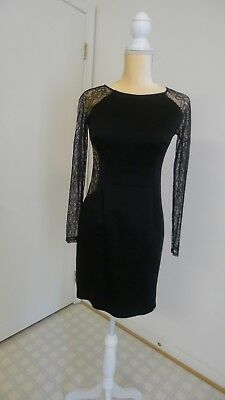 $70 • Buy Aidan Mattox Black Lace Cocktail/formal Long Sleeve Woman Dress Size 4 Pre-owned