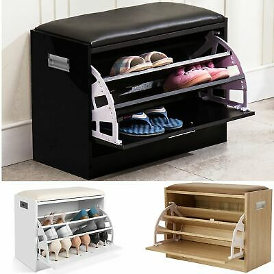 £37.99 • Buy NEW Ottoman Shoe Cabinet Seat Storage Closet Wooden Rack Cupboard Shoes Bench UK