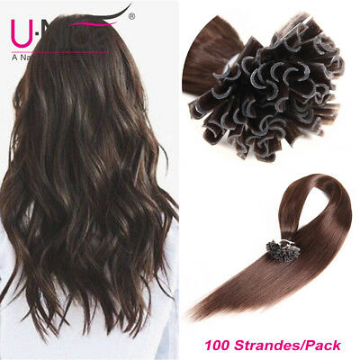 $34.90 • Buy 100S Pre Bonded Keratin Nail U Tip Remy Human Hair Extensions Silky Straight US
