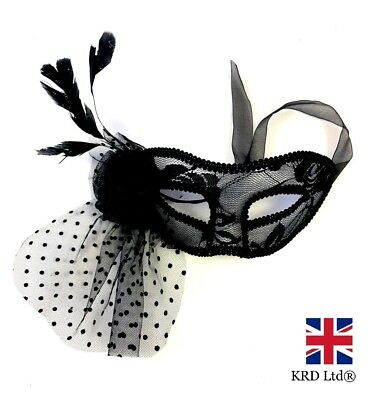 £4.50 • Buy FEATHER LACE MASQUERADE MASK Venetian Party Ball Carnival Halloween Fancy Dress