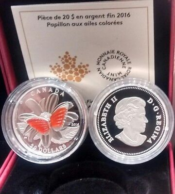 Wings Of Butterfly Colourful Agate $20 2016 1OZ Pure Silver Proof Coin Canada • 106.04$