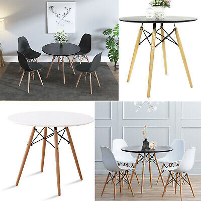 £138.90 • Buy 80 Round Dinning Table And 4 White Chairs Set Wood Kitchen Coffee Office Modern