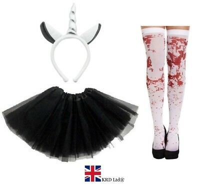 ZOMBIE GREY UNICORN COSTUME Ladies Kids Ghost Halloween Scary Fancy Dress NEW UK • 9.50£