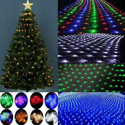 96/200 LED Fairy String Xmas Tree Net Mesh Curtain Light Lamp Outdoor Waterproof • 6.39£