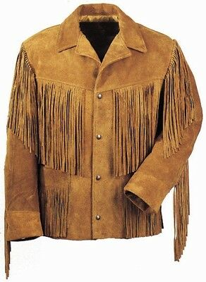 $159.99 • Buy Men Traditional Western Cowboy Leather Jacket Coat With Fringe And Beads