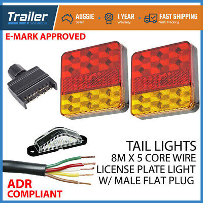 AU42.79 • Buy Pair Of 12 LED TRAILER LIGHTS KIT, 1x NUMBER PLATE, PLUG, 8M X 5 CORE CABLE 12V