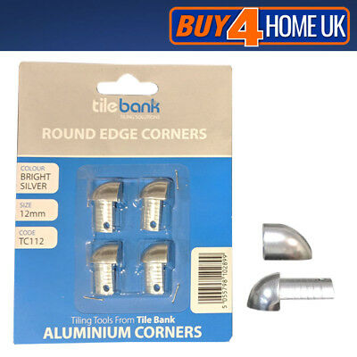 4 Pack Rounded Edge Corners - Tile Trim Aluminium 12mm Silver External Piece • 9.50£