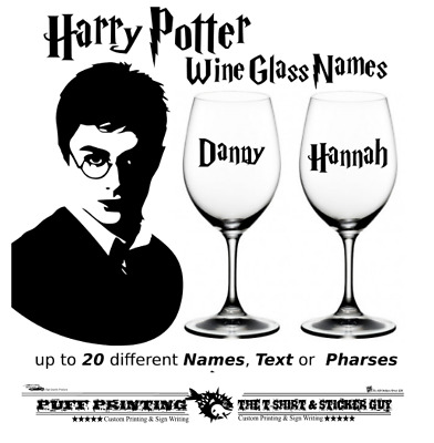 £4 • Buy 5- 20 Harry Potter Inspired Names, Text Vinyl Stickers Wine Glass  CRAFT**