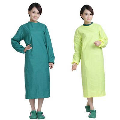 Unisex  Medical Surgical Gown Long Sleeve Round Collar Hospital Doctor Long Coat • 12.64£
