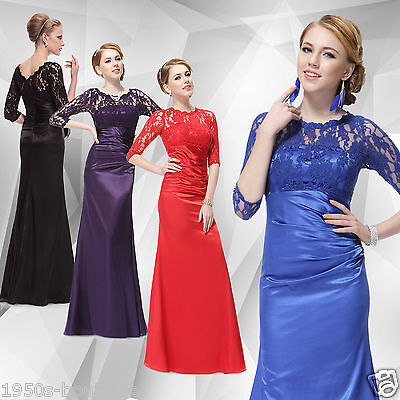 Ever Pretty UK 3/4 Sleeve Lace Formal Evening Gown Long Bridesmaid Dresses  • 29.99£