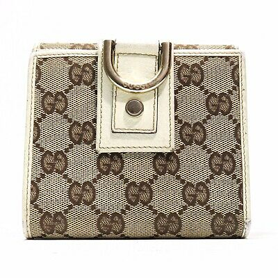 $205.08 • Buy GUCCI GG Logo Guccissima Brown Canvas Abbey D Ring Wallet - Made In Italy