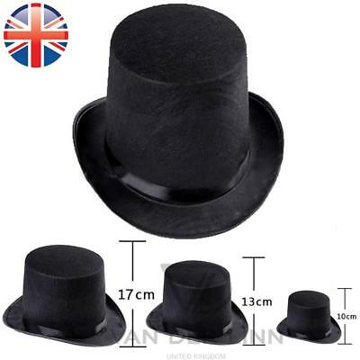 £3.58 • Buy Black Top Hat 3 Sizes Kid Adult Fancy Dress Magician Mad Hatter Victorian