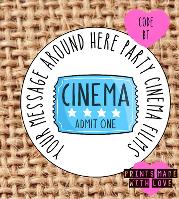 £1.60 • Buy Cinema Party Stickers / Bowling / Pizza / Thank You For Coming  Sweet Cone Label