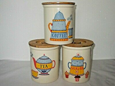 T.g. Green Single Tea Coffee Or Sugar Canisters Wooden Lids Vintage • 14.40£