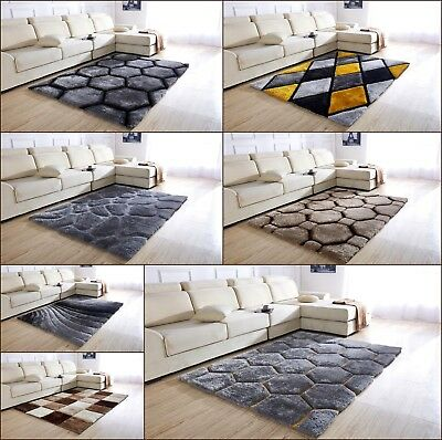 New Luxurious Modern Silky Soft Thick Heavy Chunky Pile Shaggy Area Rug Mat Uk  • 79.95£